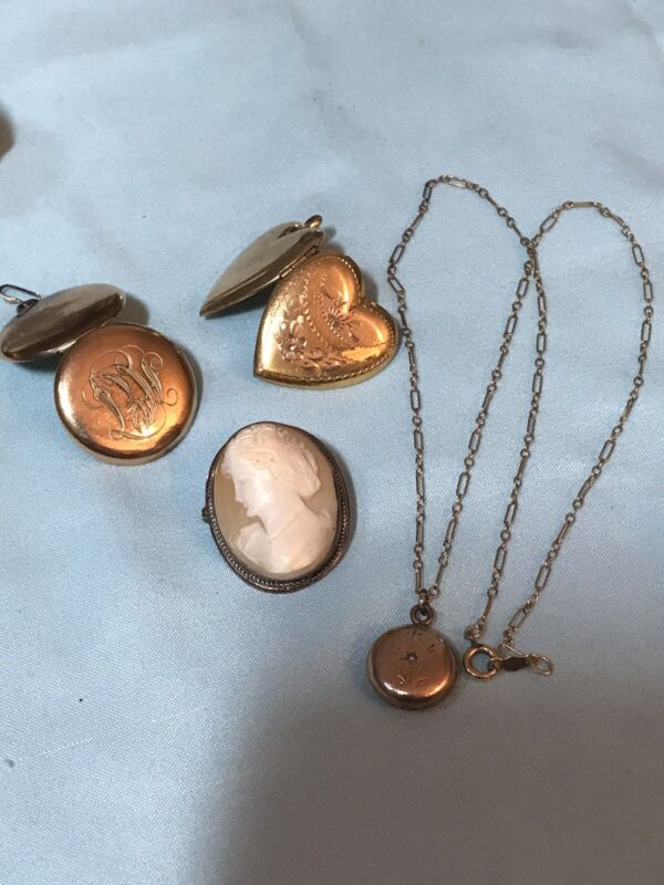 Victorian Jewerly Lot 2 Lockets 1 Cameo Pendant and Chain