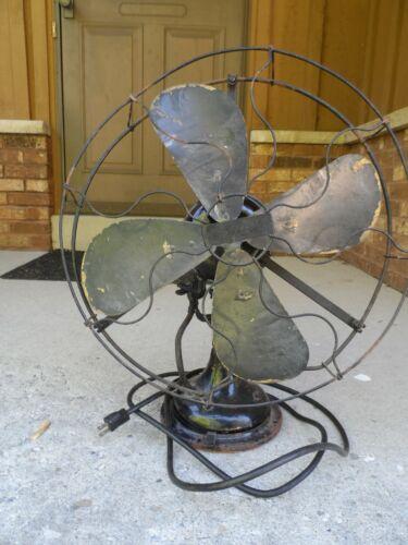 "Antique CENTURY Brass Blade Oscillating Fan Model 152 16"""