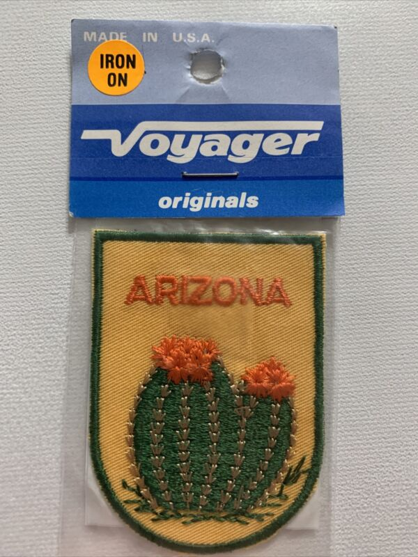 Arizona State Patch Cactus Cacti Flower Blossom AZ Souvenir Travel Embroidered