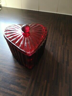 Vintage 1920s Art Deco Style Ruby Glass Heart Shaped Jewellery Box