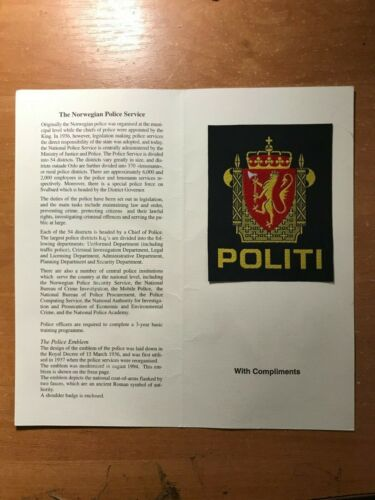 NORWAY POLITI POLICE PATCH NATIONAL - ORIGINAL! + Presentation Folder Booklet