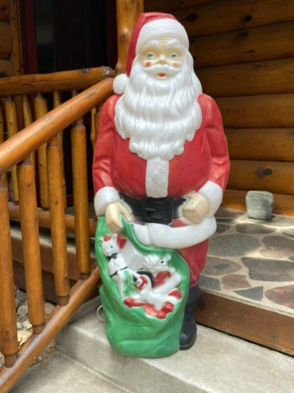 Illuminated 4ft Santa Claus w/ Toy Sack Blow Mold - Empire Christmas 1968