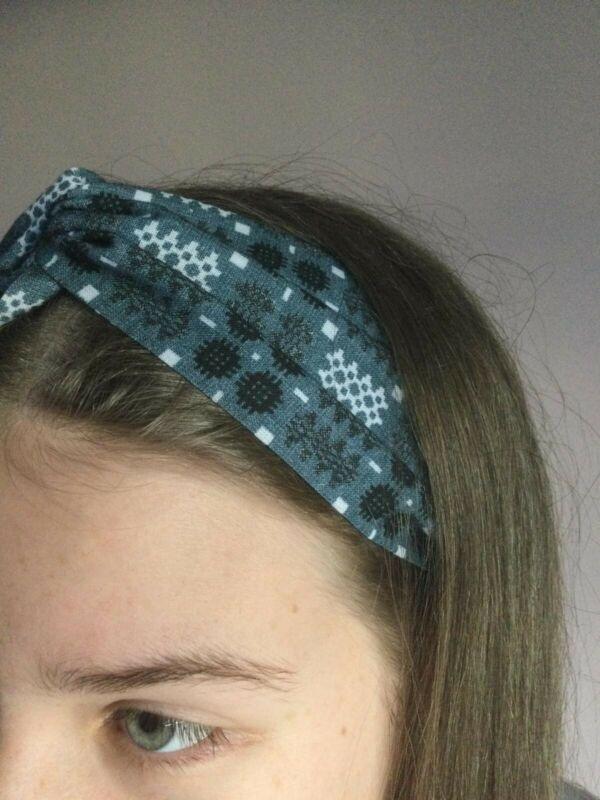 Brand+New+Welsh+Wool+Tapestry+Print+Turban+Headband+FREE+P%26P+100%25+Cotton+Blue