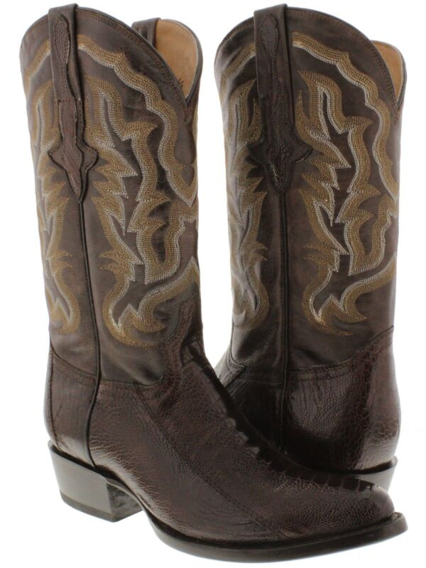 Mens, Brown, Smooth, Genuine, Ostrich, Skin, Leather, Cowboy, Boots, Western, Round, Toe