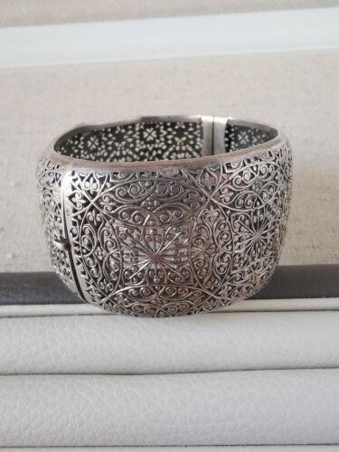 Antique filigree ornate silver cuff bracelet