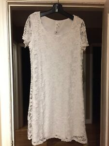 Brand New White Lace Overlay Dress From Macy's