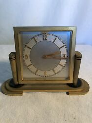 Clock Alarm Swiss Solid Brass Desk Travel Office Vintage Repair Parts