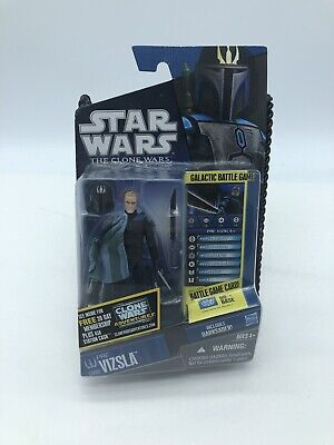 NEW STAR WARS THE CLONE WARS CW08 PRE VIZSLA WITH DARKSABER 2009 ACTION FIGURE!