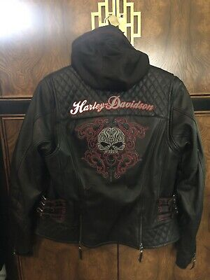 NWT Harley Davidson SCROLL 3N1 Willie G Skull Leather Jacket Women XL Reflective