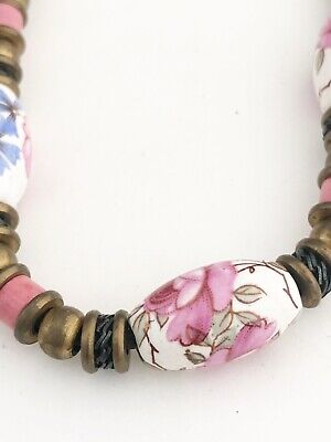 HANDMADE BROWN CORD & BRONZE HARDWARE PAINTED LOOK PORCELAIN BEADED NECKLACE