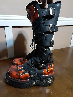 New Rock Reactor 6 Buckle Tall Black flame boots Size 40 EUR Steam Punk Metal