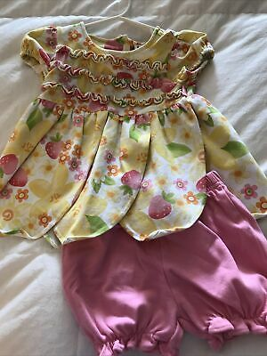 Le Top Toddler Girls 12-18 mo 2pc Outfit Yellow Pink Strawberry Dress Bloomers