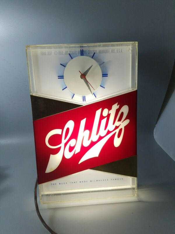 Schlitz lighted clock beer sign blue moon 1959 VTG  bar light shelf topper