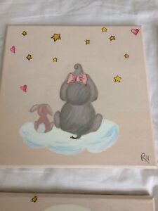 So sweet! 4 hand painted canvas art set