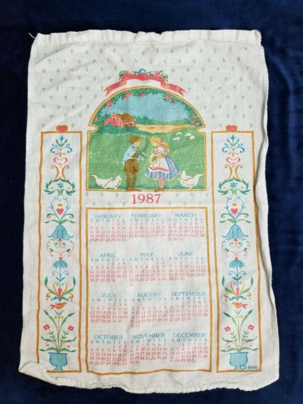 Vintage 1987 Fabric Cloth Wall Hanging Calendar Boy And Girl On Farm Design