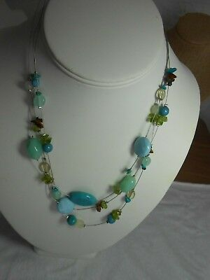 Lia Sophia # Strand Wire Necklace with Blue Beads accents of Brown & (Bead Wire Strand Necklace)