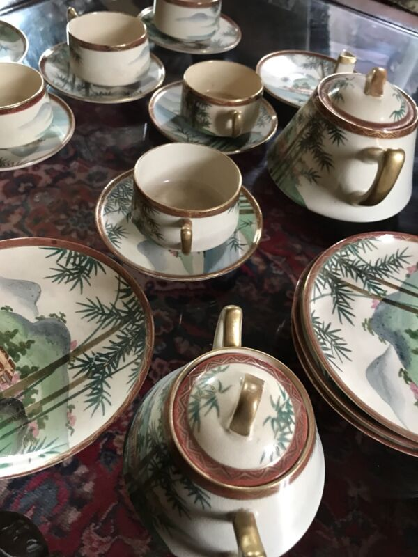 Japanese China Tea Cups and bread Plates.Hand Painted.