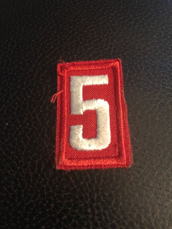 Cub Boy Scouts of America Pack/Troop Number 5 Patch, Red & White
