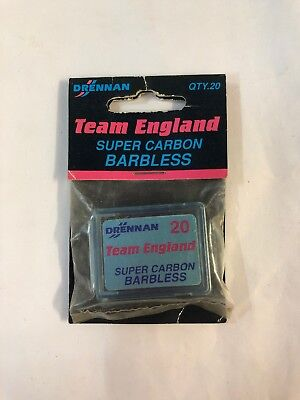 Drennan Team England Super Carbon Barbless Hooks Size 20/22/24