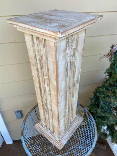 Reclaimed Wood Fluted Column Pedestal