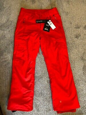 Quiksilver Men's Porter 10k Insulated Snowboard/Ski Pants, Red, Small