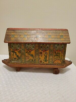 Rare Antique late 1800's Noah's Ark Wood Litho Pull Toy With 7 Blocks