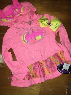 Toddler Girls Batman Hoodie Skirted Jacket Costume NWT 4T Hairbow](Batman Toddler Girl Costume)