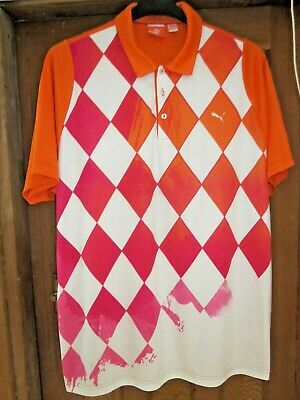 PUMA GOLF POLO SHIRT,XL,ORANGE PINK WHITE,IAN POULTER STYLE.