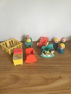 Vintage 1973 Fisher Price Little People 761 Play Family Nursery Set Complete