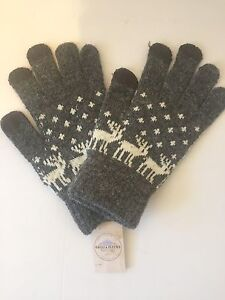 Cozy Grey and White Knit Gloves with Winter Reindeer/Deer Motif