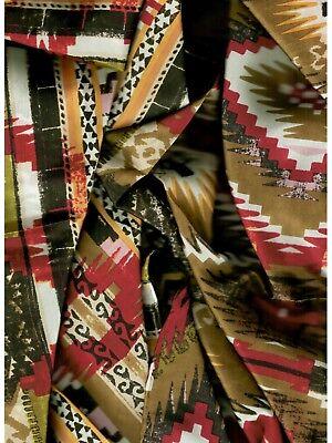 Aztec Olive/Green Western Cowboy Silk Wild Rag Bandana Buckaroo Scarf