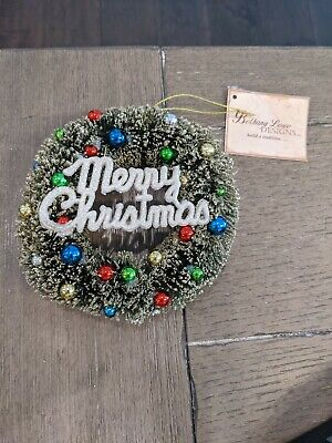 """NWT Bethany Lowe Design Merry Christmas Wreath Ornament 5"""" Vintage Style"""