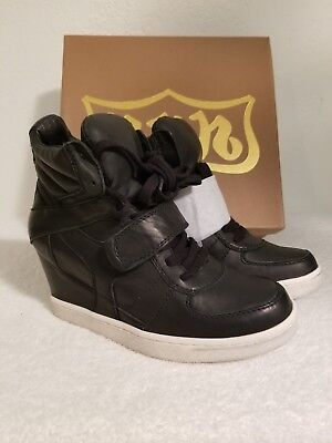 NIB! ASH Cool Ter Wedge Leather Sneakers Size 39/8.5 Black GORGEOUS!