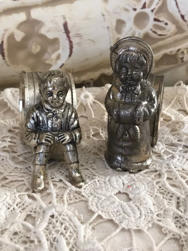 Victorian Silverplate Napkin Rings Pair Boy And Girl