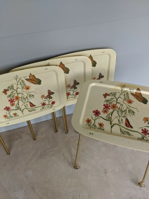 Vintage MCM Set of 4 Fiberglass Butterfly TV Trays & Rolling Stand Cart