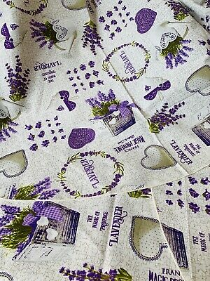Tovaglia rotonda 8 persone diametro 160 cm cotone italiano lavanda cuori shabby