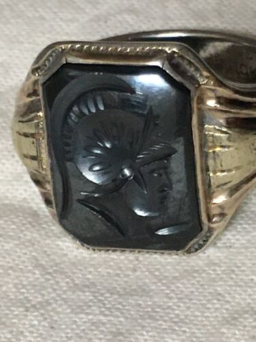 Vintage Sterling Silver 10KT Gold Top Hematite Roman Soldier Cameo Ring SZ 7