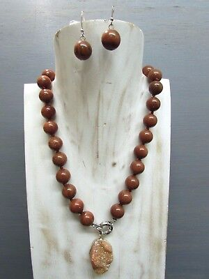 """18"""" Knotted 14mm GoldStone Round Bead Necklace Druzy Pendant Handmade Earring"""