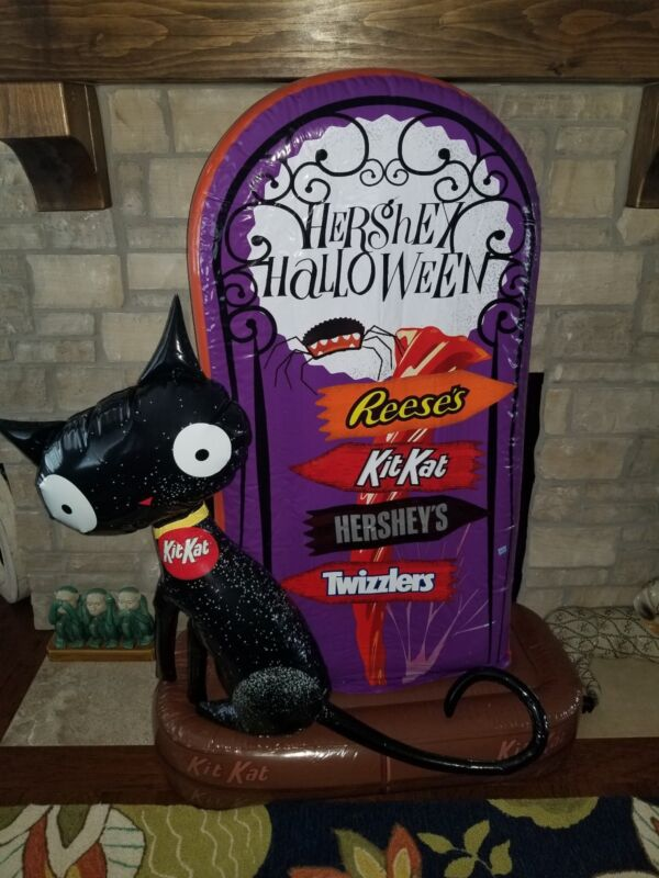 Giant Hersheys/KitKat/Reeses/Twizzlers Inflatable Tombstone Black Cat