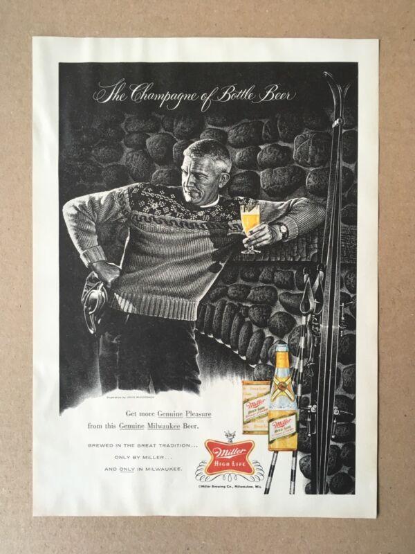 Vintage 1959 MILLER HIGH LIFE Ski Lounge Print Ad, Milwaukee, WI