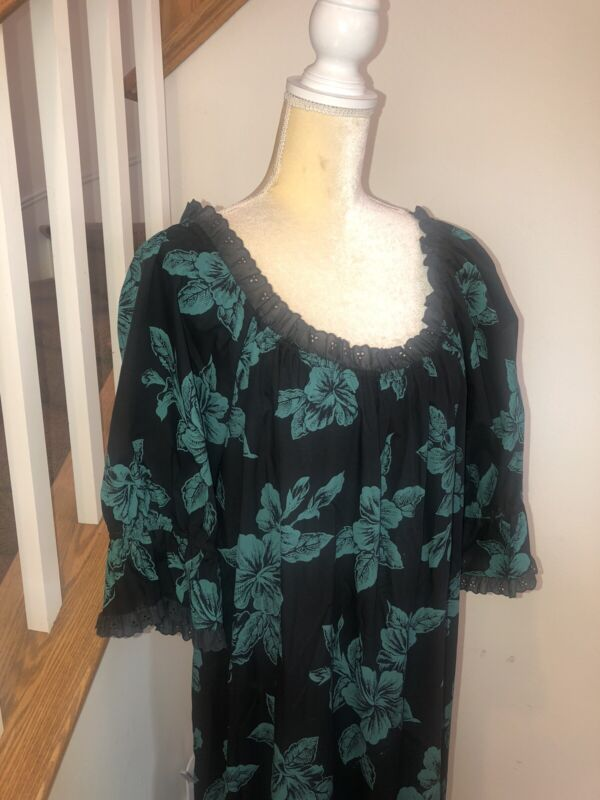 Magnificent Vintage Princess Kaiulani MuuMuu Black Green Aloha Dress Sz L/Xl