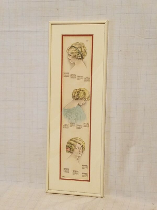Reproduction Framed & Matted 1914 Calendar - Victorian Ladies
