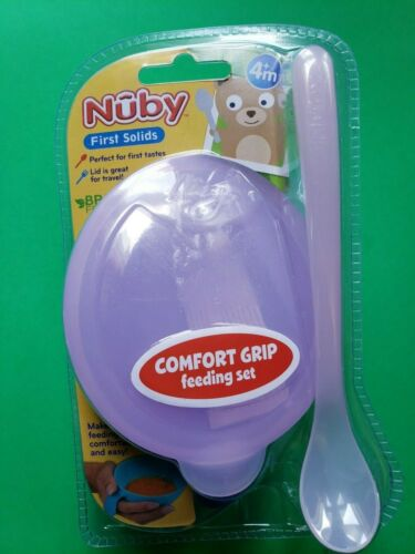 NUBY FIRST SOLIDS PINK COMFORT GRIP FEEDING BOWL AND SPOON SET BPA FREE