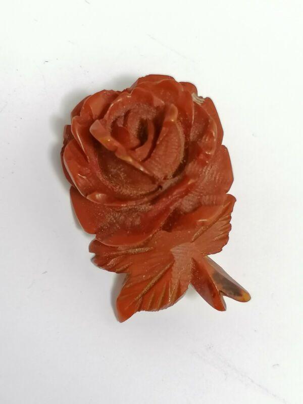 Antique Edwardian Bakelite? Carved Early Plastic Red Rose Flower Old Pin Brooch