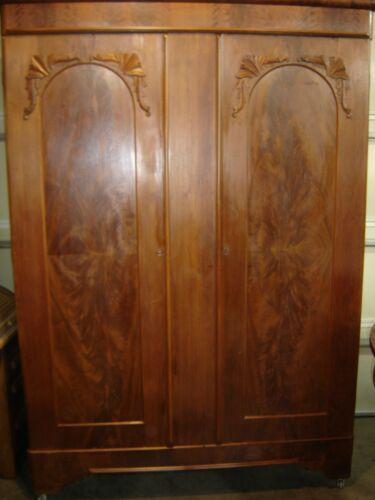 Antique Burled Walnut Victorian Wardrobe Early Champhored door panels 9933
