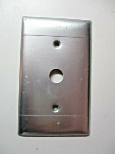 Rotary Switch Satin Aluminum 2 Horizontal Lines 1940s Wall Box Cover Plate Vtg