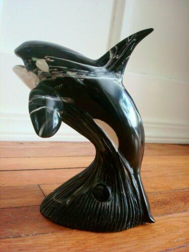 Vintage GH Cook Co Fine Art Sculpture Nautical Ocean Black ORCA Killer WHALE