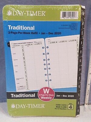 Day Timer Traditional Weekly Size 4 Refill 5-12 X 8-12 Jan-dec 2020 91010
