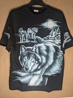 Harlequin Nancy Blauers Vintage 1994 Wolves Print Nature Shirt Single Stitch image