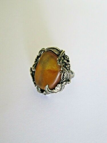 Vintage Art Nouveau Amber Sterling Ring Hand Crafted Baltic Statement Piece